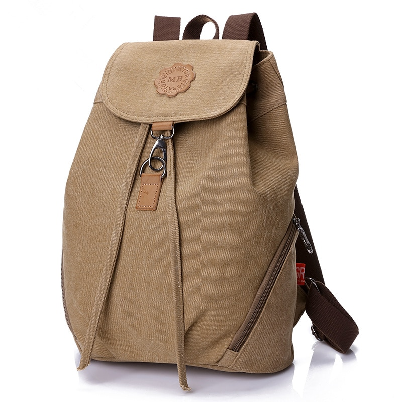 Ladies Casual Canvas Backpack Hang Buckle Fixed Flap Pocket Backpack For Women College Student Schoo