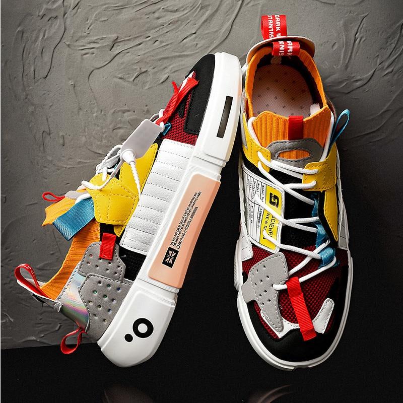 موضة ملون ماركة حذاء رياضي كاجول للرجال منصة فاخرة مصمم حذاء رجالي شبكة تنفس عادية أحذية الرجال جورب المدربين
