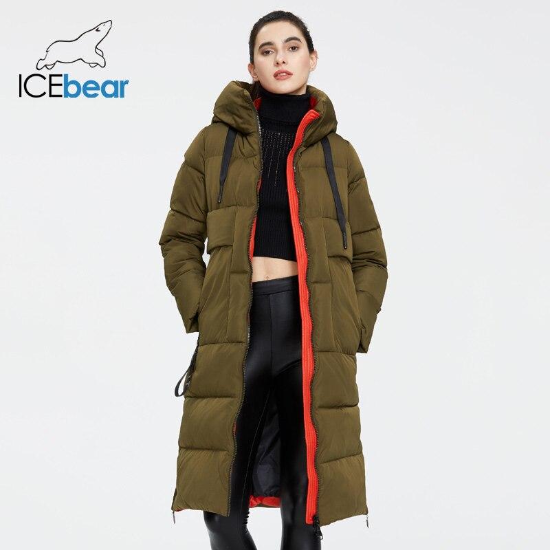 ICEbear 2019 Новая зимняя женская куртка высокого качества с длинным женским пальто с капюшоном женский парки стильная женская брендовая одежда GWD19507I