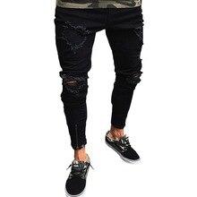 Men's Cool Designer Brand Jeans Ripped Destroyed Grind Flanging Black Skinny Stretch Slim Fit Hop Ho