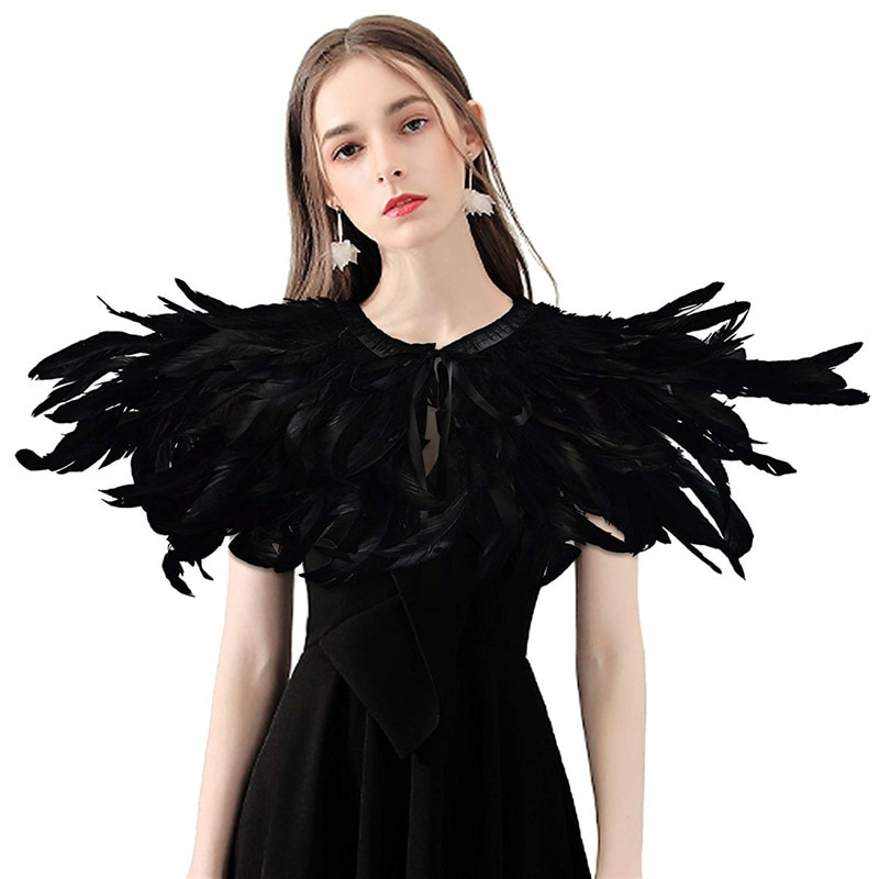 2020 New Victorian Natural Feather Fur Shawl Fashion Gothic Fake Collar Shrug Wrap Cape Dance Party Performance Rave Festival