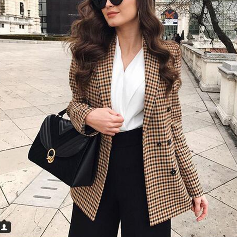 Fashion Autumn Women Plaid Blazers and Jackets Work Office Lady Suit Slim Double Breasted Business F