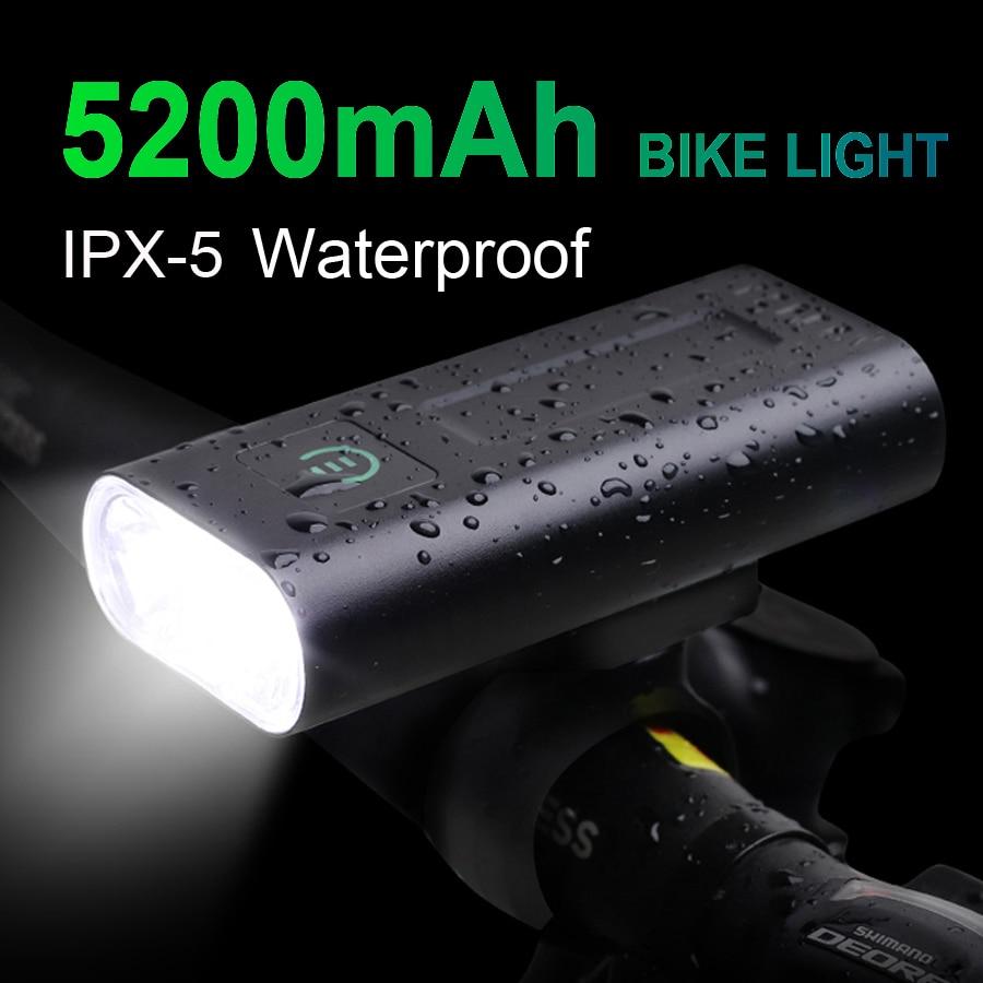NEWBOLER 1000 Lumens Bicycle Headlight 5200mAh as Power Bank USB Chargeable Bike Light Front IPX5 Waterproof MTB Bike Flashlight