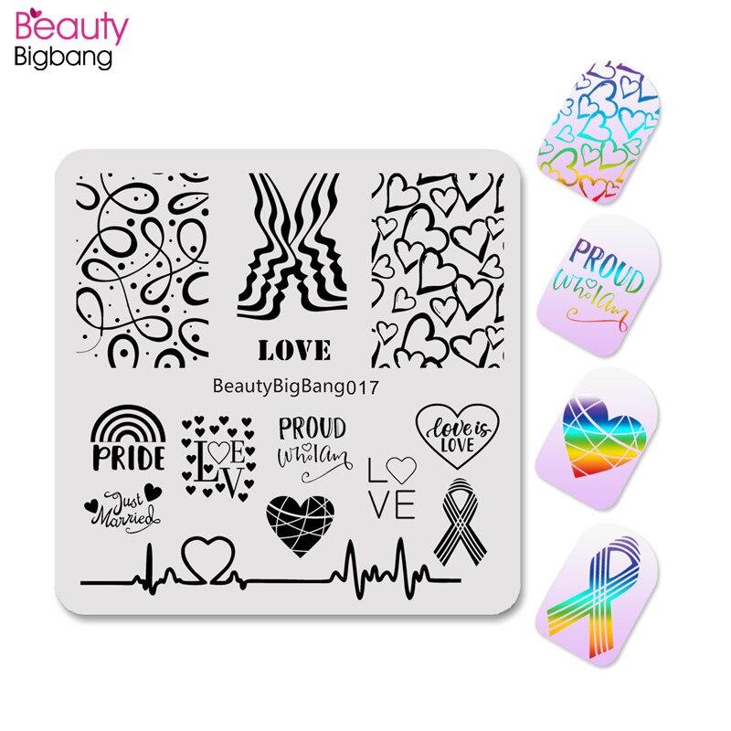 Пластины для стемпинга для ногтей BeautyBigBang, 6*6 см, LGBT Pride, гомосексуальные радужные квадратные пластины для дизайна ногтей, сердцебиение, штамп