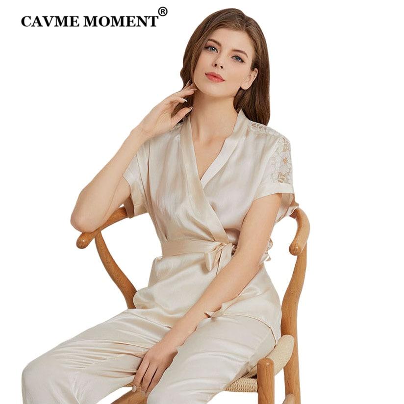 CAVME أنيقة الرباط ريال الحرير بيجامة مجموعات للنساء السيدات الفاخرة ملابس خاصة 2 قطعة الخامس الرقبة نوم اللبلاب بلون