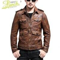 leather genuine jacket men real sheepskin coat vintage slim fit short autumn motorcycle men leather jackets yc 66 kj3217