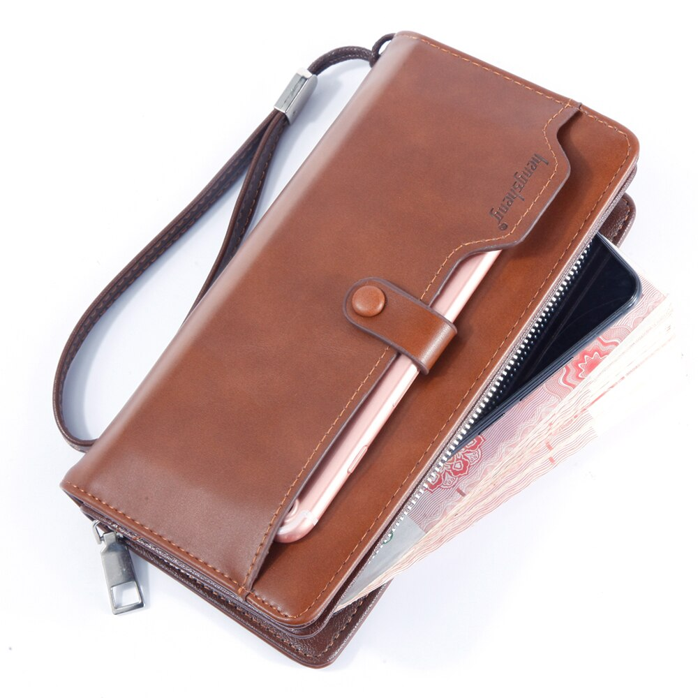 Funda de teléfono con cremallera billeteras para Hombre Vintage marrón bolso de...