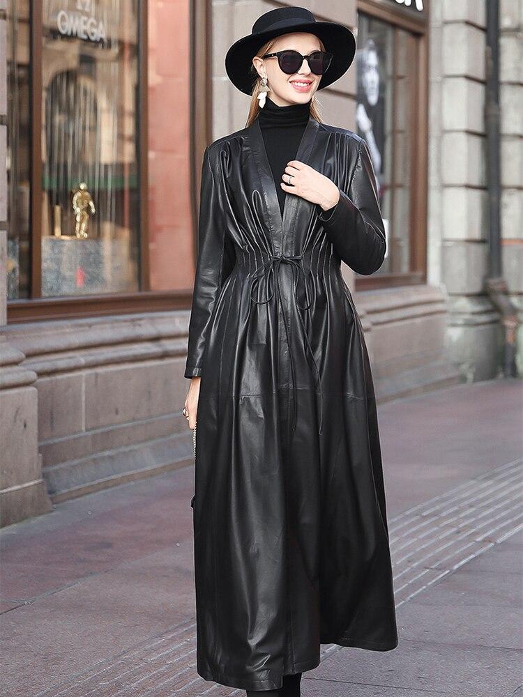 Lautaro Lange schwarz leder graben mantel für frauen tiefe v hals langarm kordelzug Plus größe kleidung für frauen 4xl 5xl 6xl 7xl