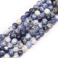natural round stone beads natural gemstone hole size 6810mm crystal energy stone healing power smooth blue vein stone beads