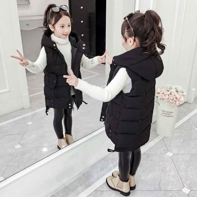 Children Outerwear Coats for Girls Autumn Winter Girls Casual Vest Jacket Toddler Down Cotton Vest Sleeveless Kids Warm Jacket