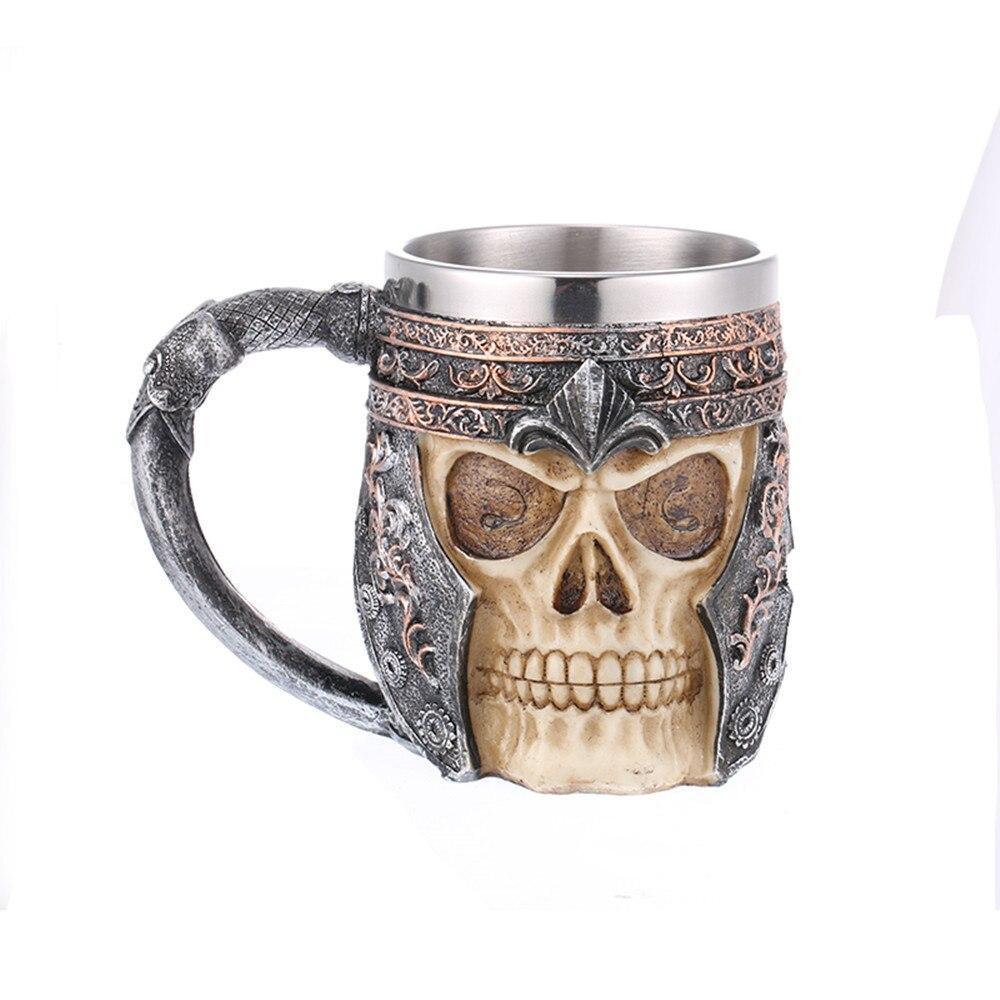 Marca cerveja steins copo de chá esqueleto crânio cabeça de vidro de vinho resina crânio decoração para casa bar xícara de café