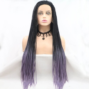 Black Purple Gradient Natural Long Hair Braided Box Braids Lace Frontal Wigs Cosplay Synthetic Lace Front Wigs For Black Women