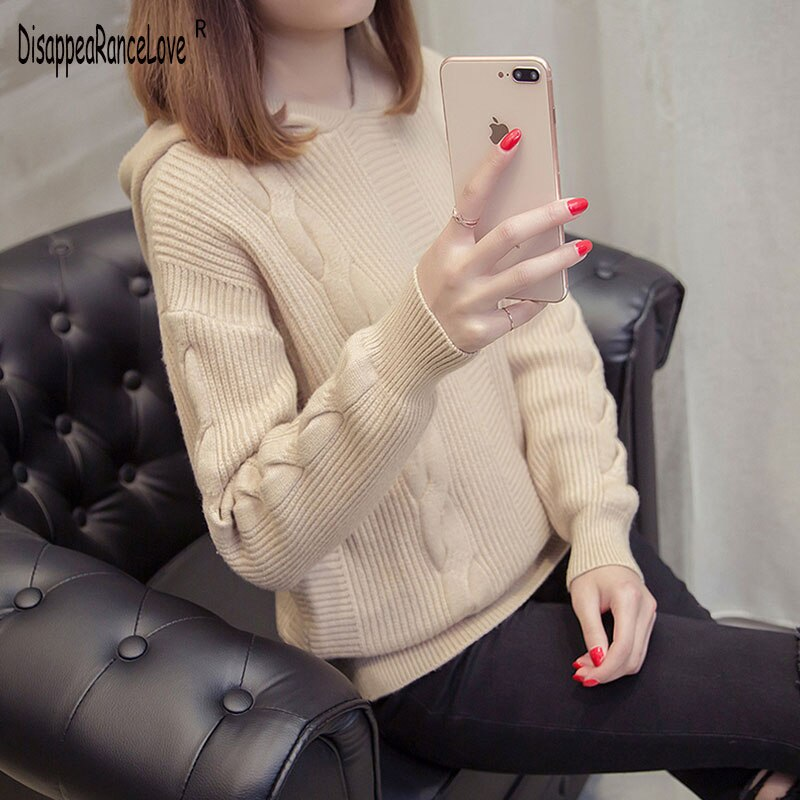 Casual Hooded Sweater 2020 New Autumn Winter Korean Style Women Loose Solid Button Knitwear Female P