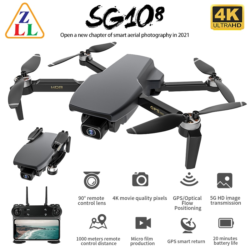 ZLL SG108 GPS Drone with 5G Wifi FPV 4K HD Dual Camera Brushless RC Foldable Quadcopter 1000m Control Distance Dron L108 EX5