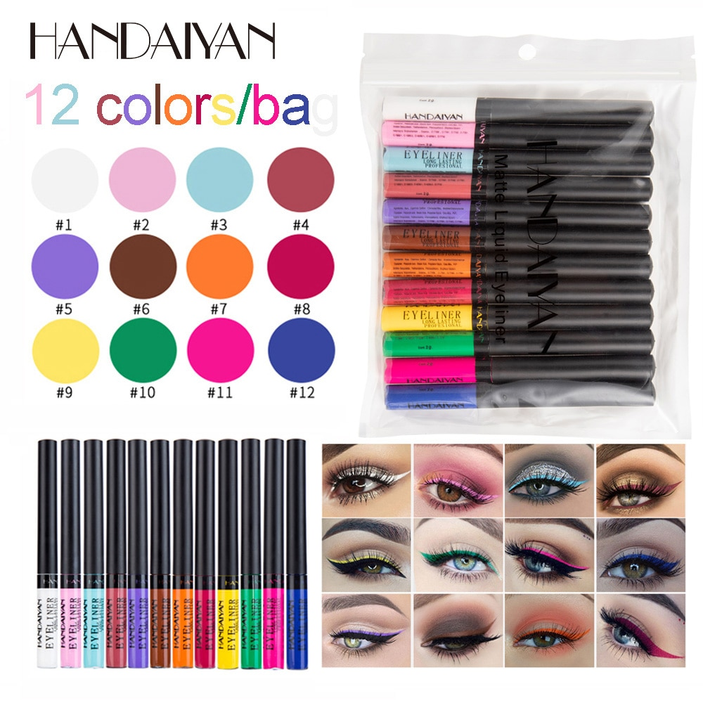 HANDAIYAN Color Eyeliner Kit 12 Colors/pack Matte Waterproof Liquid Colorful Eye Liner Pencil Set Makeup Cosmetics Long-lasting