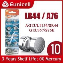 Eunicell 10pcs LR44 AG13 Button Pilas Battery 357A S76E G13 LR1154 L1154 RW82 RW42 A76 1.5V 155mAh Alkaline Cell Coin Batteries