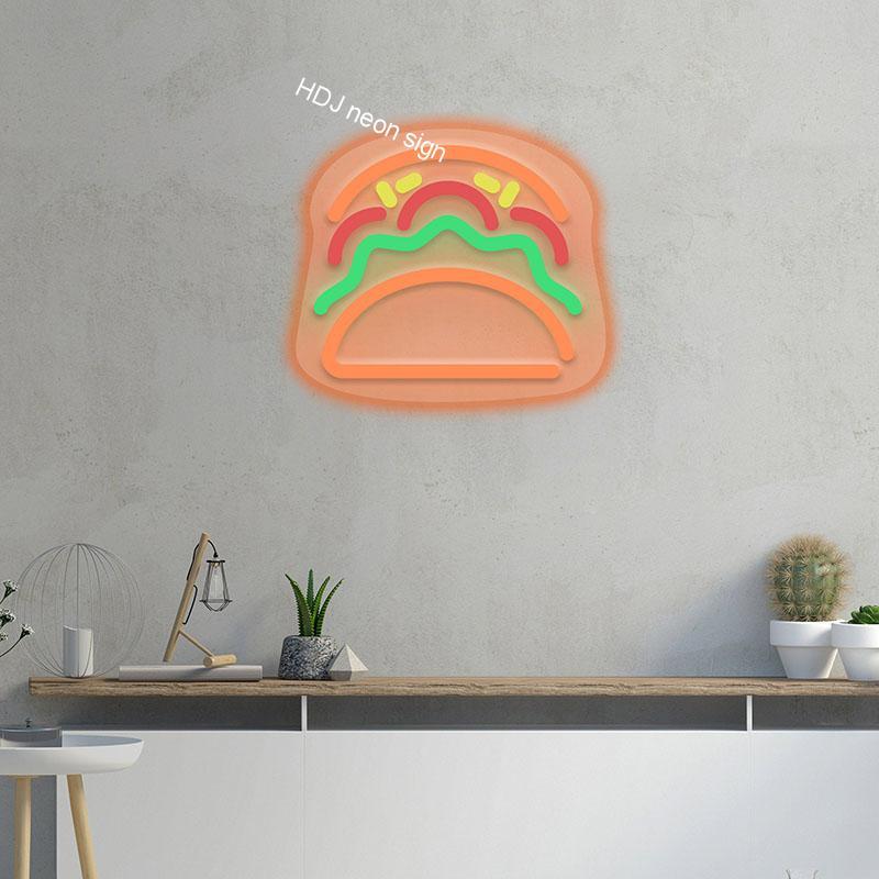 مصابيح إضاءة ليد مخصصة نيون تسجيل ضوء أكريليك جدار ديكور للمنزل غرفة إضاءة ديكوريّة لوحات مطعم شعار نيون هامبورغس علامات الشمعدان