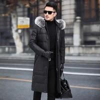 mens leather jacket sheepskin genuine leather jacket men 2020 warm duck down winter coat long chaqueta cuero hombre 19007 yy700