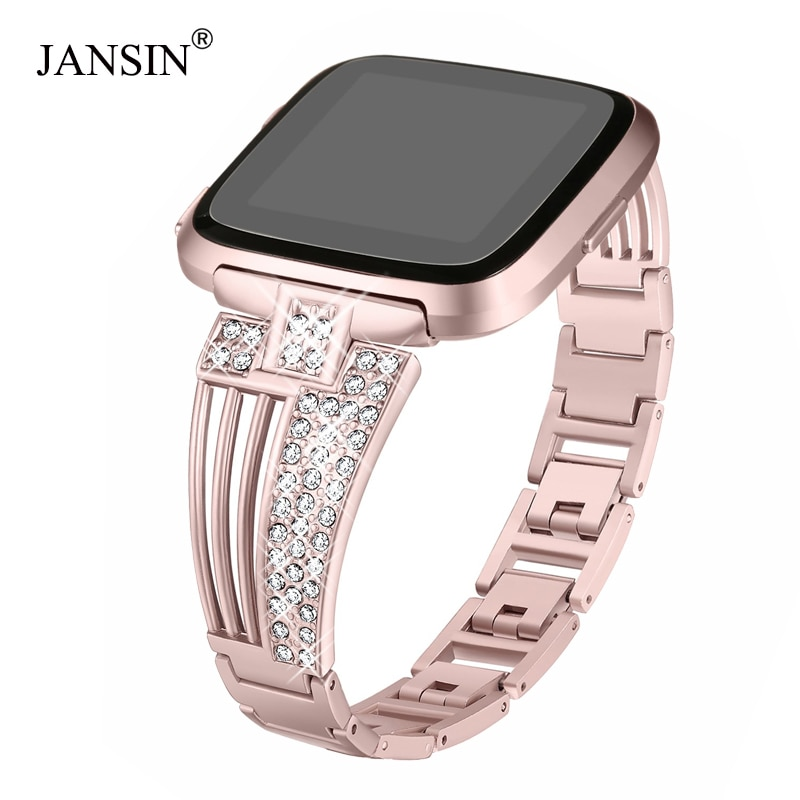 Metal Watch Band For Fitbit Versa/Versa Lite & SE/ Versa 2 Stainless Steel Strap Diamond Bracelets W