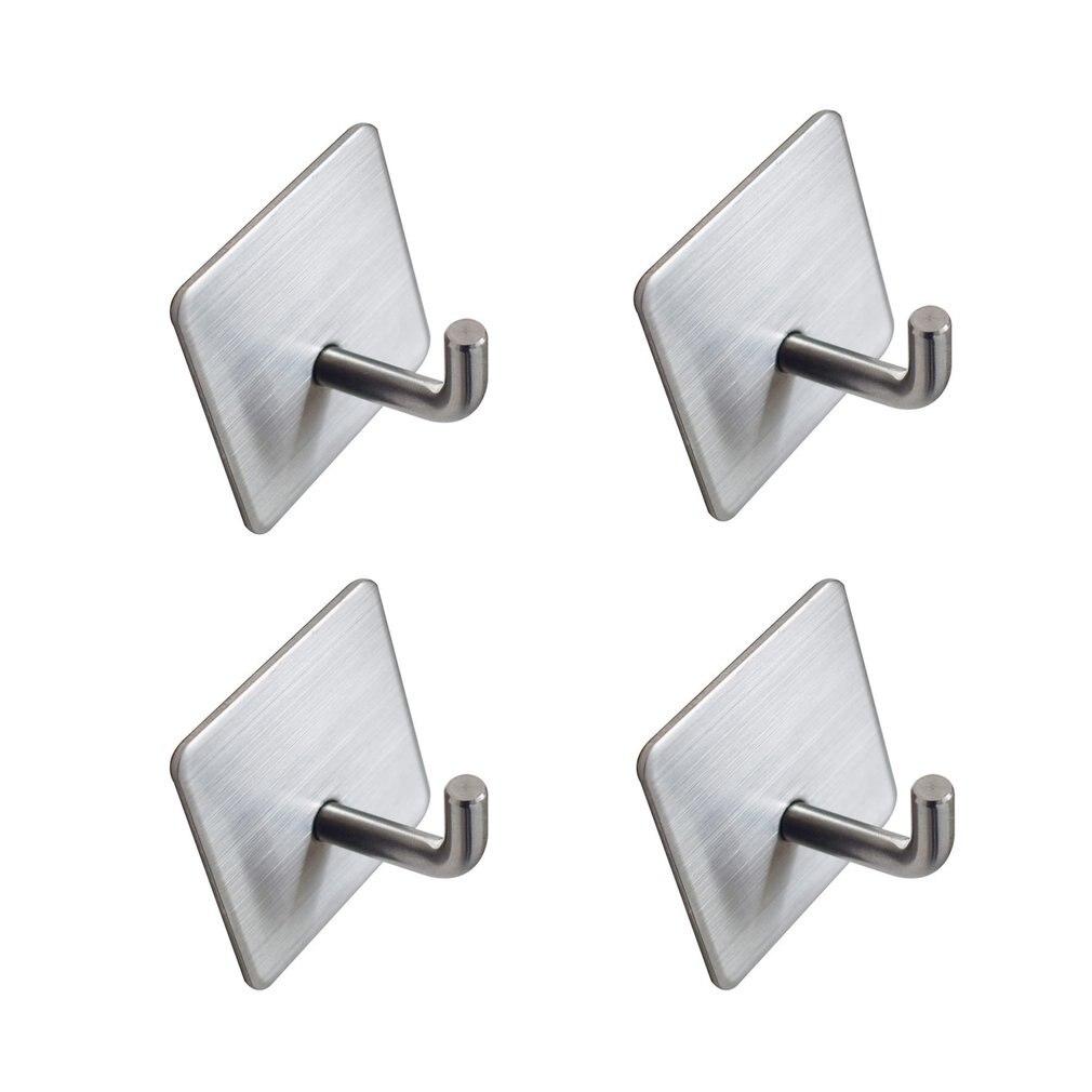 4Pcs Self-Adhesive Towel Hooks Stainless Steel Hand Towel Rail Self-Adhesive Hooks Bathroom Wall Hooks