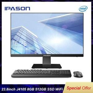 23,8 дюймовый офисный компьютер IPASON «Все в одном», 4-ядерный процессор Intel J4105 8G 512GSSD, Wi-Fi, беспроводная клавиатура и мышь/бизнес-ПК