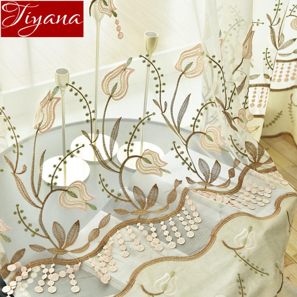 Embossed Embroidery Yarn for Window Bedroom Luxury Floral Rustic Sheer Voile Curtain Drape Door Curtain Custom Cortinas T&437#30