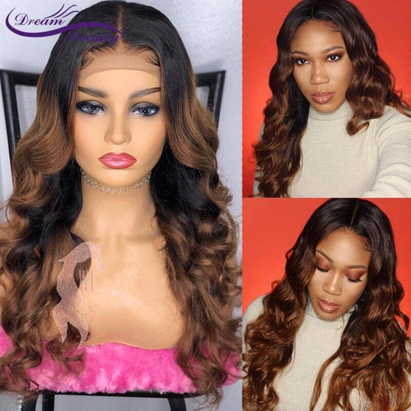Color 1b/30 Ombre Lace Front peluca humana con pelo de bebé pre-plucked ondulado brasileño destacado Color Remy Hair Dream Beauty