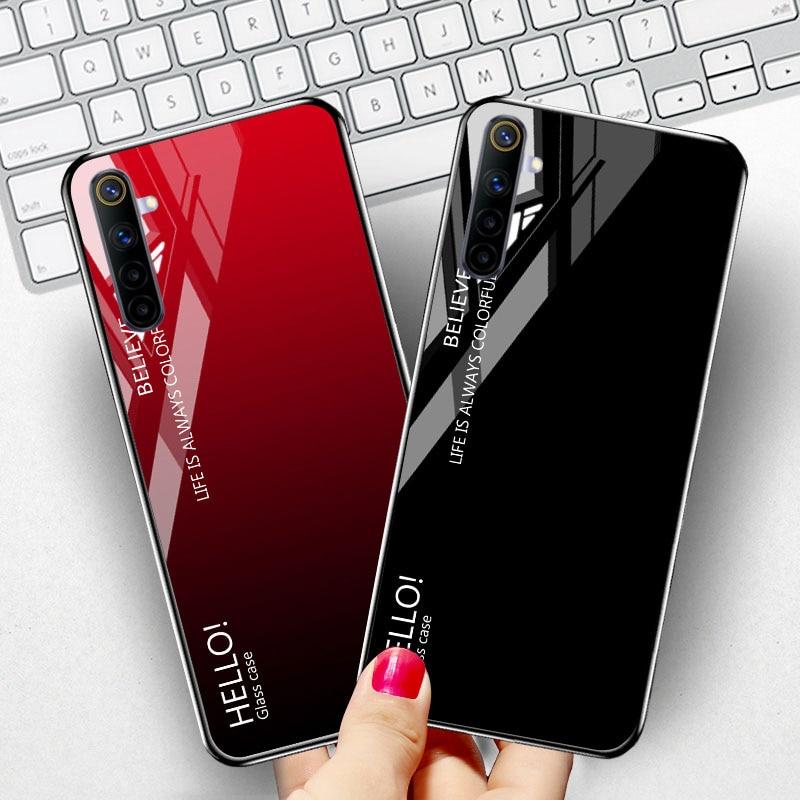 Tempered Glass Case For OPPO Realme 6 Pro Cases Cover Luxury Star Space Bumper OPPO Realme X7 7 5 X2