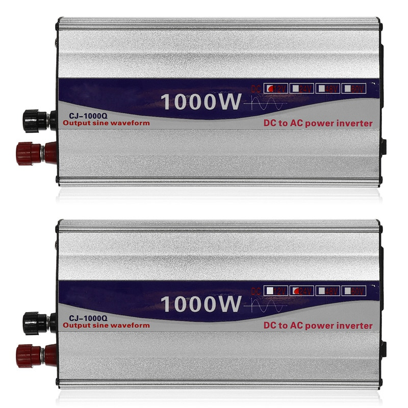 Conjunto de pantalla LED de 1000W, inversor de potencia de onda sinusoidal pura de 12V/ 24V a 220V, convertidor de transformador, inversor de fuente de alimentación