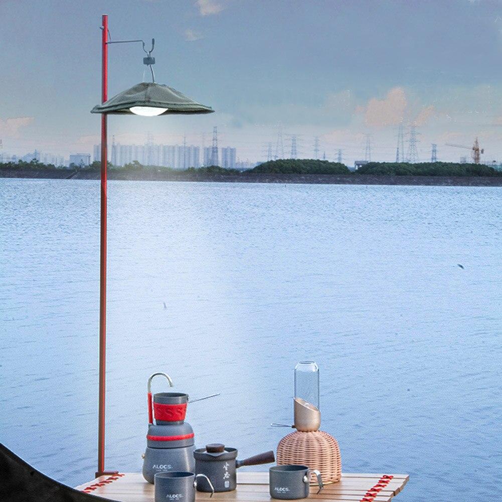 Poste de lámpara plegable de exterior para acampar, cazar y senderismo, poste de aleación de aluminio, soporte de fijación de luz colgante portátil para pesca