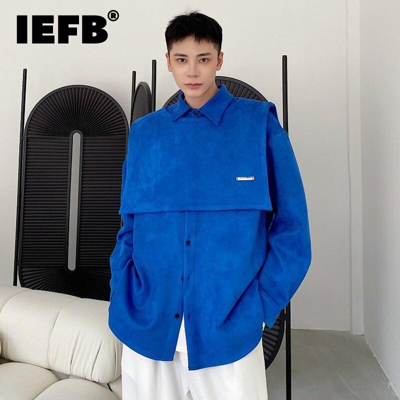 IEFB ملابس رجالية كورية أنيقة فضفاضة سميكة قطعتين شال التلبيب كم طويل قميص رجالي جديد المد الذكور الخريف الشتاء 2021