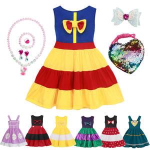 Kids Halloween Party Princess Costumes Children Summer Sleeveless Gown Snow White Fancy Dress For Girls Christmas Birthday Gift