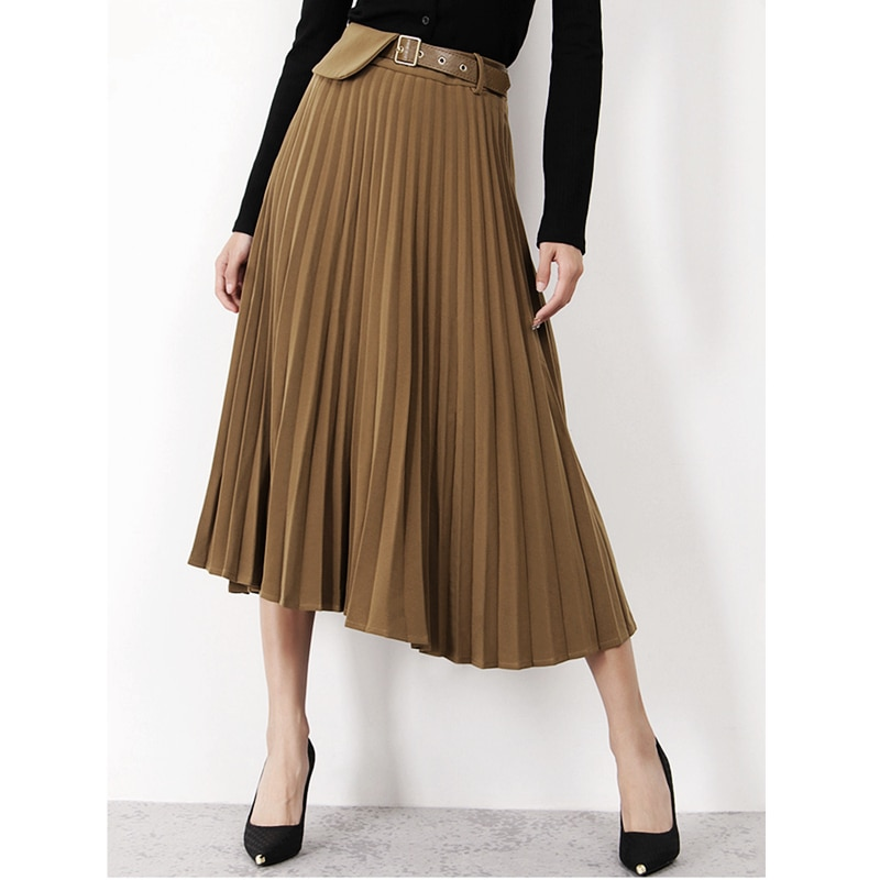 Pleated Skirt Women Vintage Style 100% Polyester A-Line Solid Sashes Mid-calf Autumn Skirts Ladies New Fashion