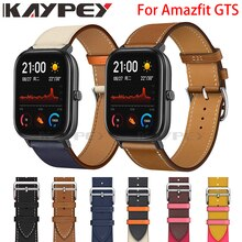 Correa de cuero genuino para reloj Xiaomi Huami Amazfit GTS 2 2e 2Mini Bip Lite 1S U, correa de muñeca deportiva