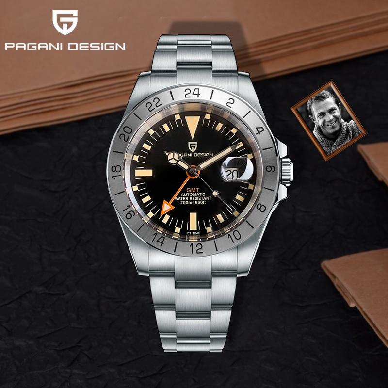 2021 جديد PAGANI تصميم الرجال التلقائي ساعة ميكانيكية الكلاسيكية الرجعية GMT ساعة الفولاذ المقاوم للصدأ 200 متر مقاوم للماء ساعة Reloj Hombre