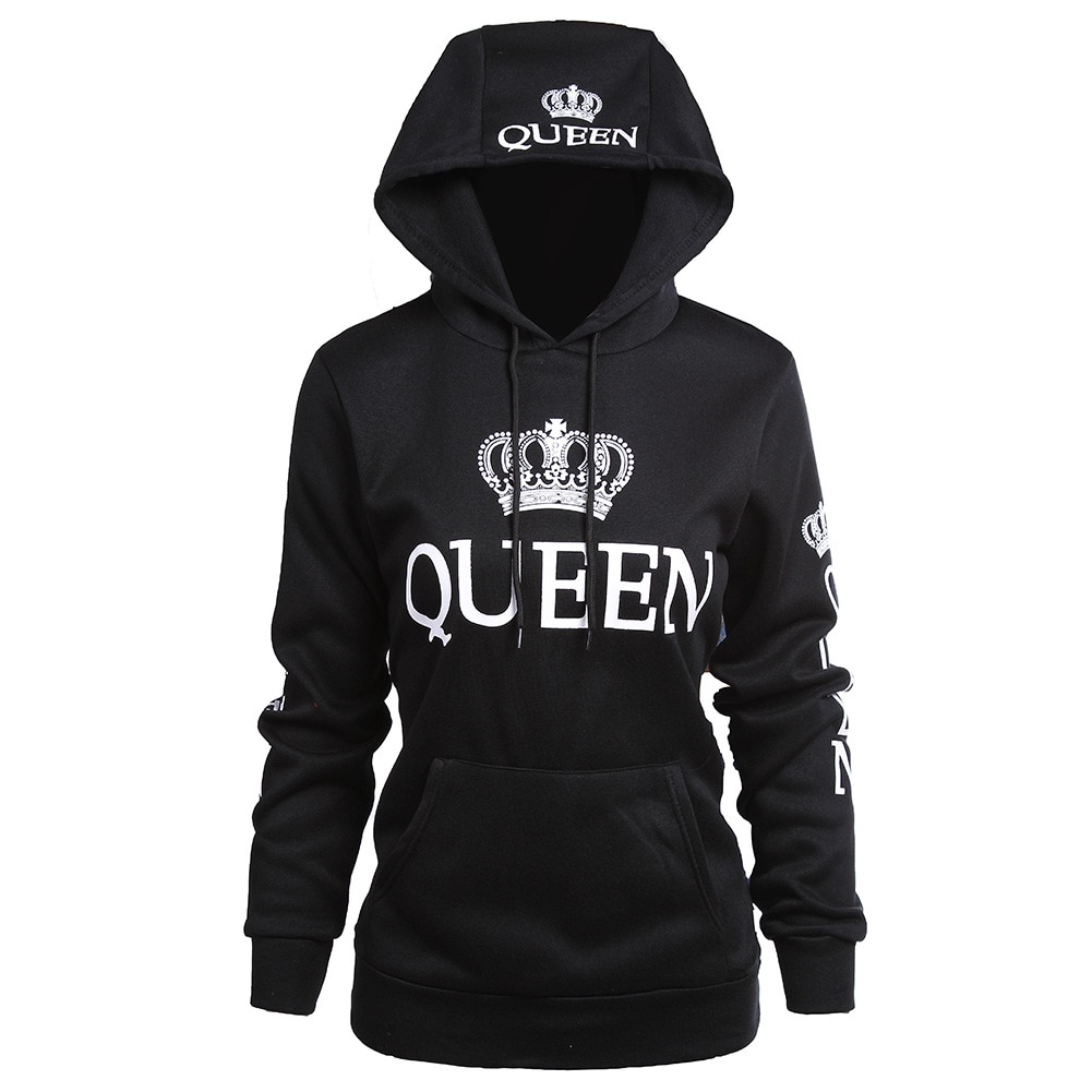 «King», «queen» одежда с капюшоном и принтом Длинные рукава d Пара кофты на осень-зиму повседневные Длинные рукава с капюшоном пуловеры Женские к...