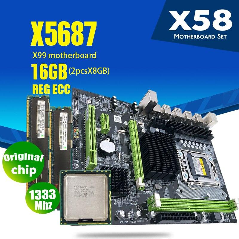 Atermiter X58 placa base LGA1366 combos X5687 CPU 2 uds x 8GB = 16GB DDR3 RAM 1333Mhz PC3 10600R RAM disipador de calor