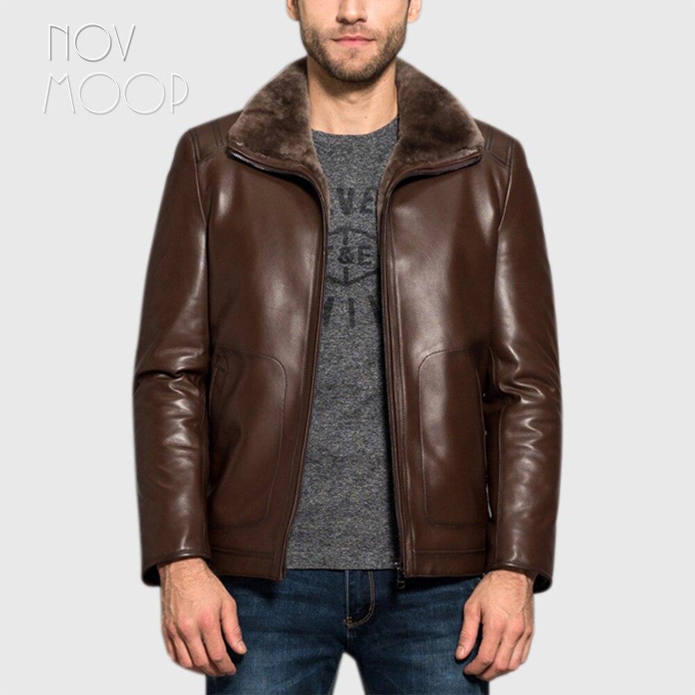 Novmoop ハイストリート男性スリムスタイル moroon 色ラムスキン本革厚いコート毛皮ジャケット leren jas ヘレン LT2840