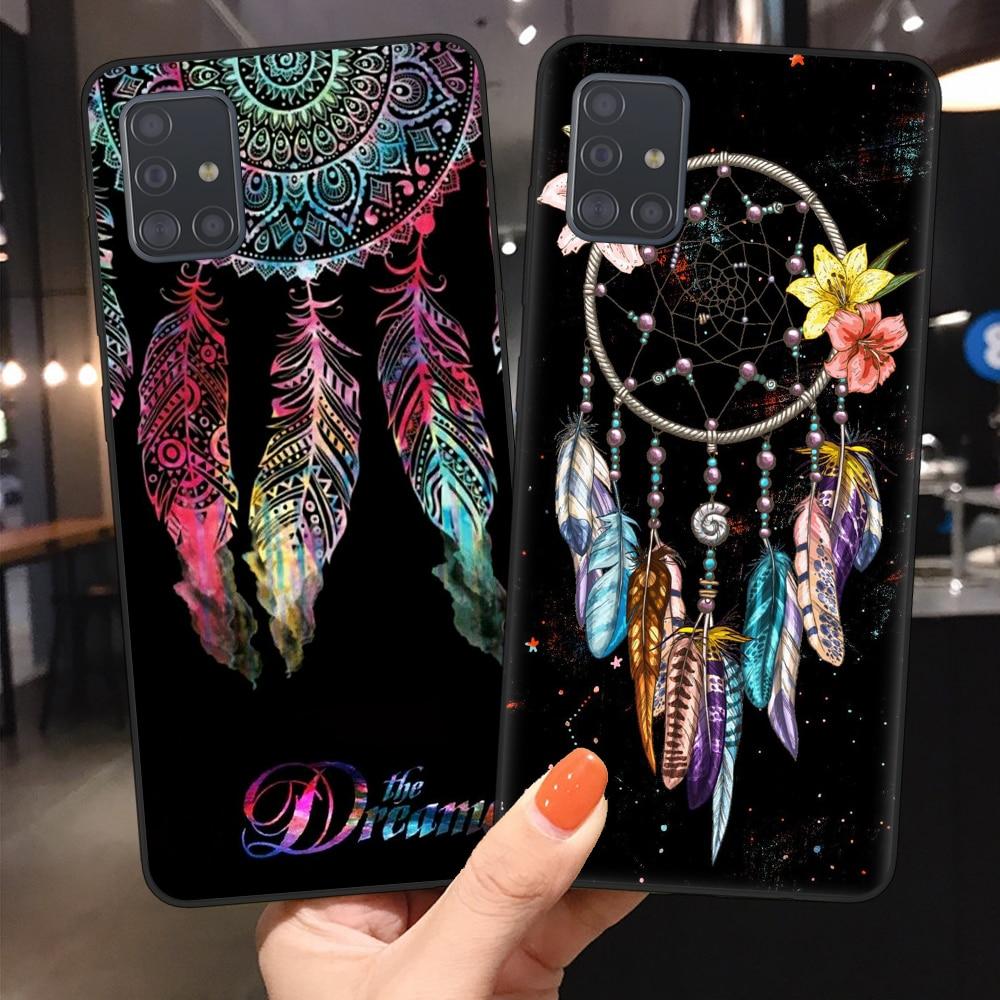 FLYRUI atrapasueños de plumas para Fundas Samsung A51 A71 A10 A20 A30 A40 A50 A70 AS20 Plus funda del teléfono ultra cubierta de silicona Coque