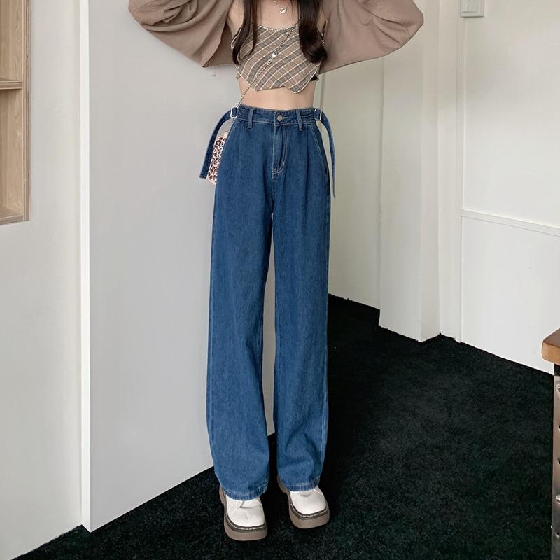 Cmaz 2021 Vintage Hoge Taille Rechte Broek Voor Vrouwen Streetwear Losse Vrouwelijke Denim Jeans Knoppen Rits Dames Broek