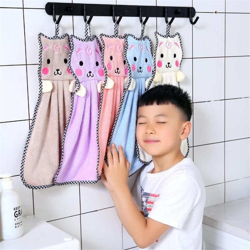 Serviette en microfibre pour enfants   Petite serviette chat mignon pour enfants, serviette de cuisine en peluche douce, absorbant les mains, salle de bains