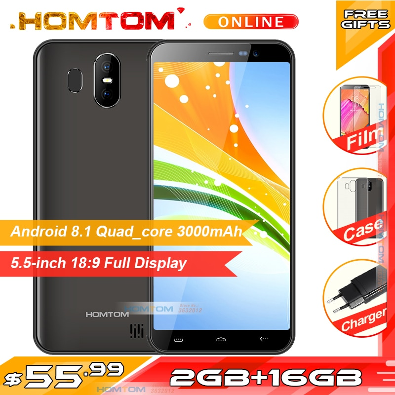 "Homtom s17 android 8.1 quad core mt6580 5.5 ""189 tela cheia smartphone rosto desbloquear 2 gb + 16 gb 3000 mah telefone móvel"