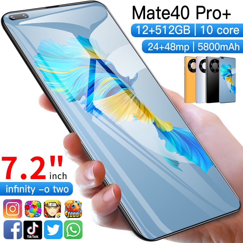 Global Version Ultra Thin Mate40 Pro+ Smartphone 5800mAh Full Screen 7.2 Inch Deca Core 12GB 512GB 4G LTE 5G Network Smartphones