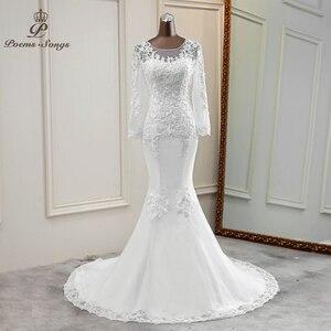 Mermaid wedding dresses transparent robe de mariee graceful wedding gowns custom made bride dress long sleeves marriage flower