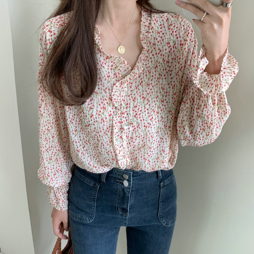 Korean Style Women Flower Falbala  Blouse Ruffle Hem Petal Sleeve V-Neck Oversized Chiffon Top Loose Fitting Plus Size Tunic 4XL v placket curved dip hem blouse