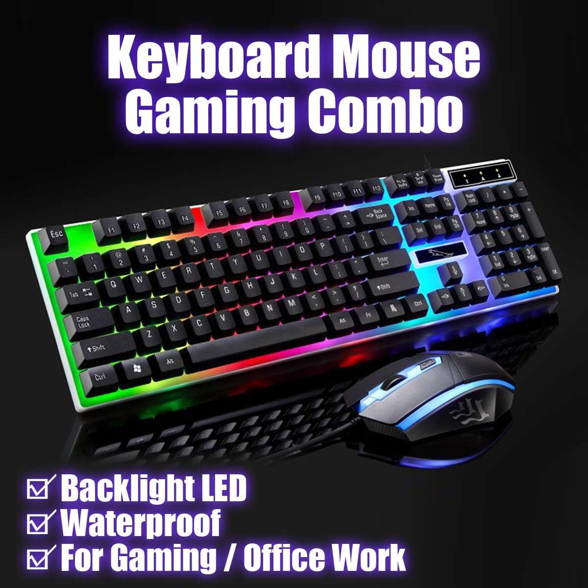 Teclado con cable USB 104, conjunto de ratón, retroiluminación LED para Notebook, ordenador portátil, juegos, PC, TV, suministros de oficina, ratones G21
