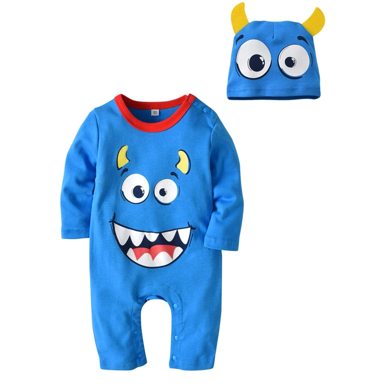 Summer Toddler Kids Children Newborn Baby Girls Boys Monster Halloween Romper Jumpsuit cap suits Outfit set