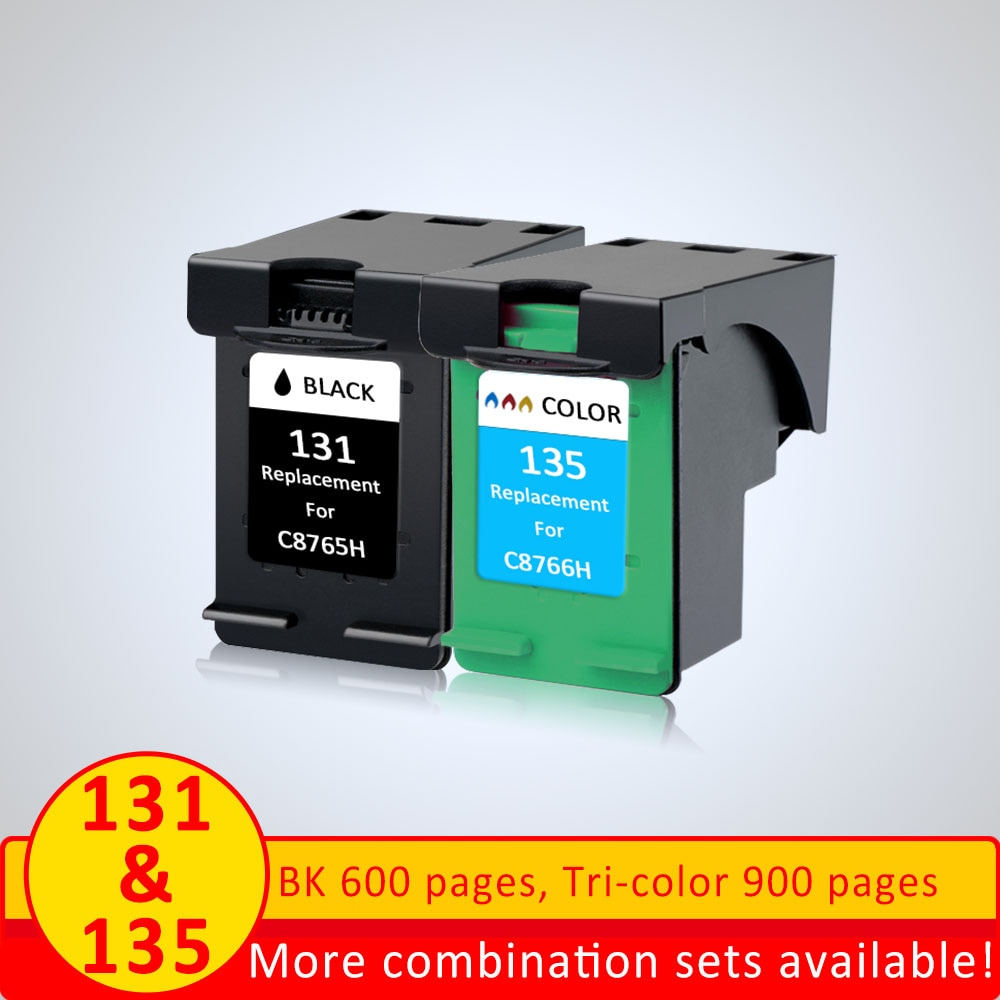 SZ 2pcs Ink cartridge replacement for HP 131 for HP 135 for hp 2573 2613 8753 PSC 1600 1613 460 5743 5940 5943 6940 printer