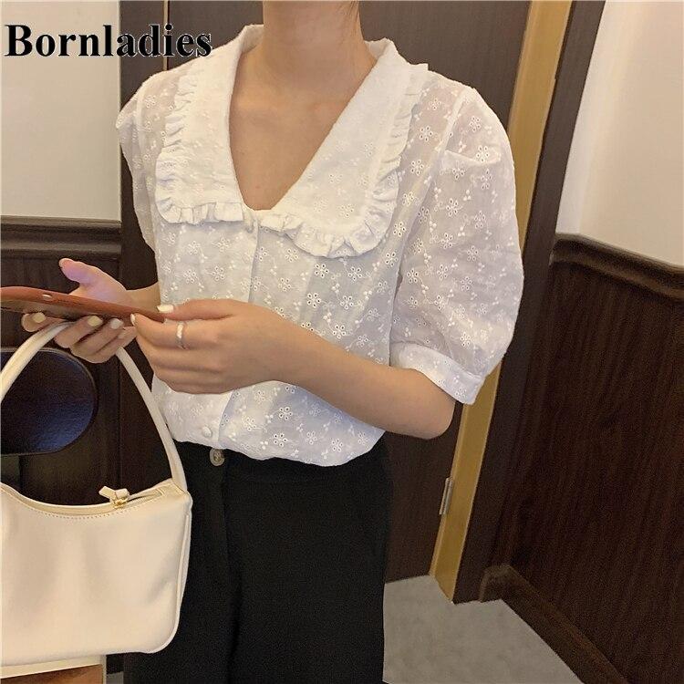 Bornladies, camisa blanca Vintage para mujer, Tops de gran tamaño, Blusa de manga corta para mujeres, blusa de verano de talla grande para mujeres, Blusas para mujer