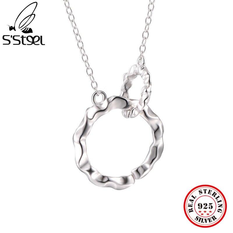S'STEEL 925 стерлингового серебра минималистский подвески ожерелья для женщин Модный Круглый кулон цепочки ожерелья на заказ ювелирных изделий